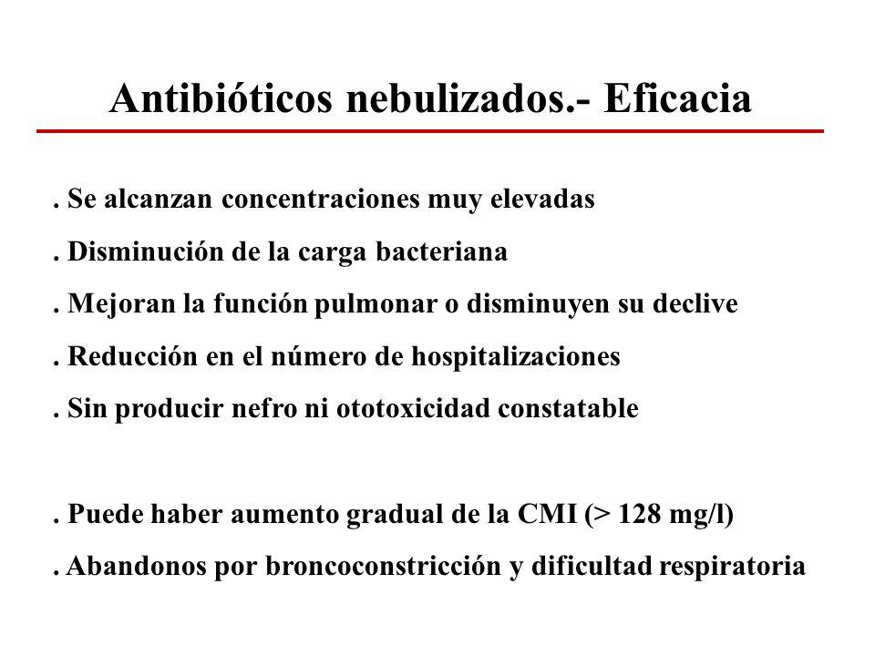 Antibióticos nebulizados.- Eficacia. Se alcanzan concentraciones muy elevadas. Disminución de la carga bacteriana. Mejoran la función pulmonar o dismi