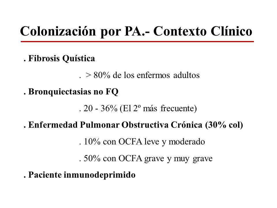 Colonización por PA.- Contexto Clínico. Fibrosis Quística. > 80% de los enfermos adultos. Bronquiectasias no FQ. 20 - 36% (El 2º más frecuente). Enfer