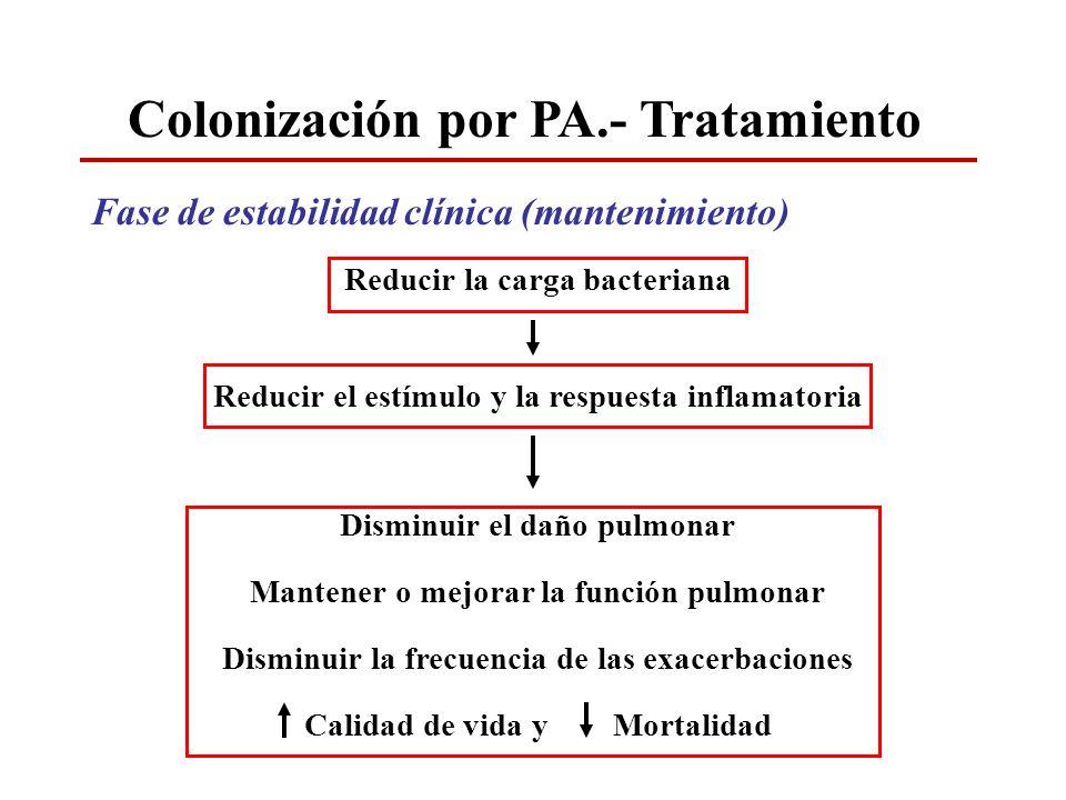 Colonización por PA.- Tratamiento Fase de estabilidad clínica (mantenimiento) Reducir la carga bacteriana Reducir el estímulo y la respuesta inflamato