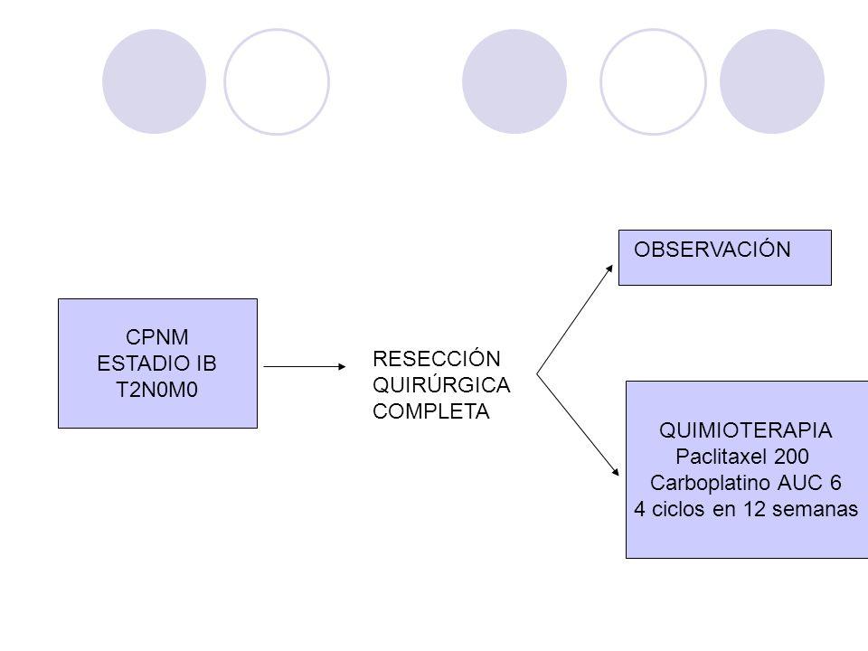 CPNM ESTADIO IB T2N0M0 RESECCIÓN QUIRÚRGICA COMPLETA OBSERVACIÓN QUIMIOTERAPIA Paclitaxel 200 Carboplatino AUC 6 4 ciclos en 12 semanas
