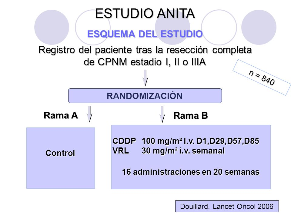 Registro del paciente tras la resección completa de CPNM estadio I, II o IIIA Rama A Control RANDOMIZACIÓN ESTUDIO ANITA ESQUEMA DEL ESTUDIO Rama B CDDP100 mg/m² i.v.