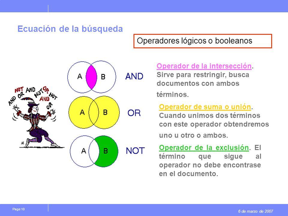 6 de marzo de 2007 Page 10 Ecuación de la búsqueda Operador de la intersección. Sirve para restringir, busca documentos con ambos términos. Operador d