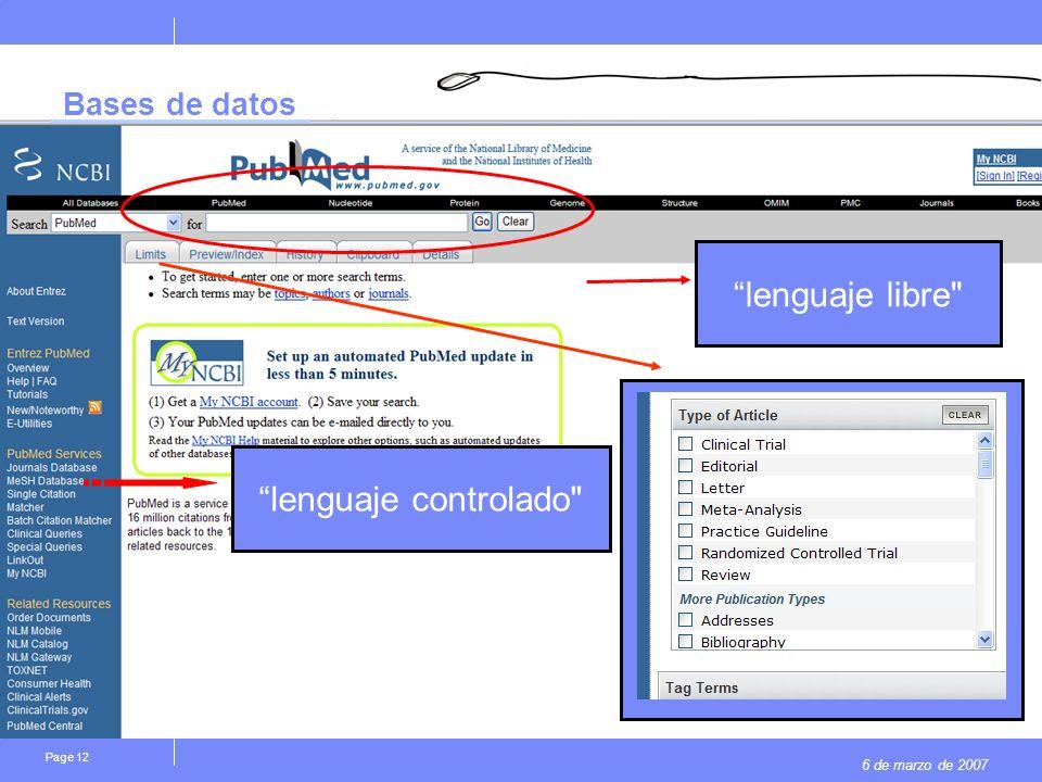 6 de marzo de 2007 Page 12 Bases de datos lenguaje controlado lenguaje libre