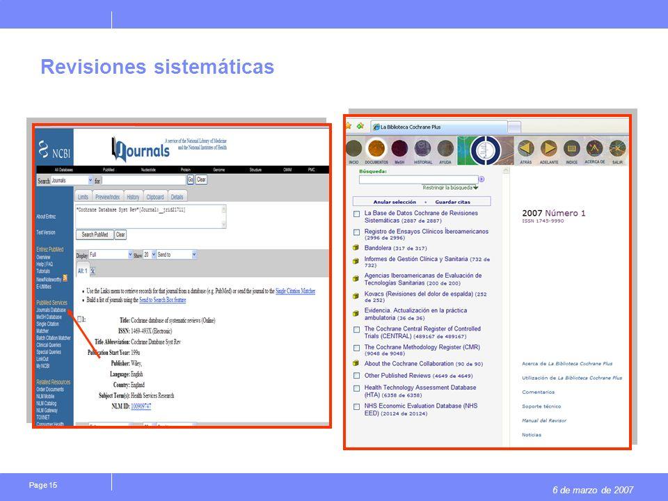 6 de marzo de 2007 Page 15 Revisiones sistemáticas