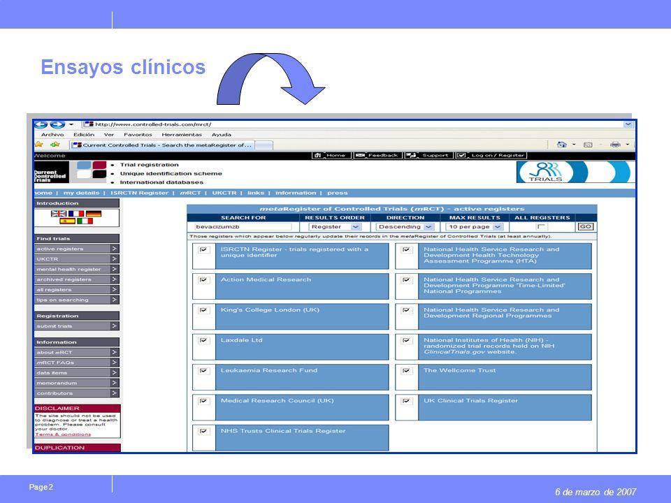 6 de marzo de 2007 Page 2 Ensayos clínicos