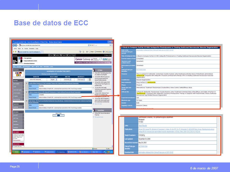 6 de marzo de 2007 Page 25 Base de datos de ECC