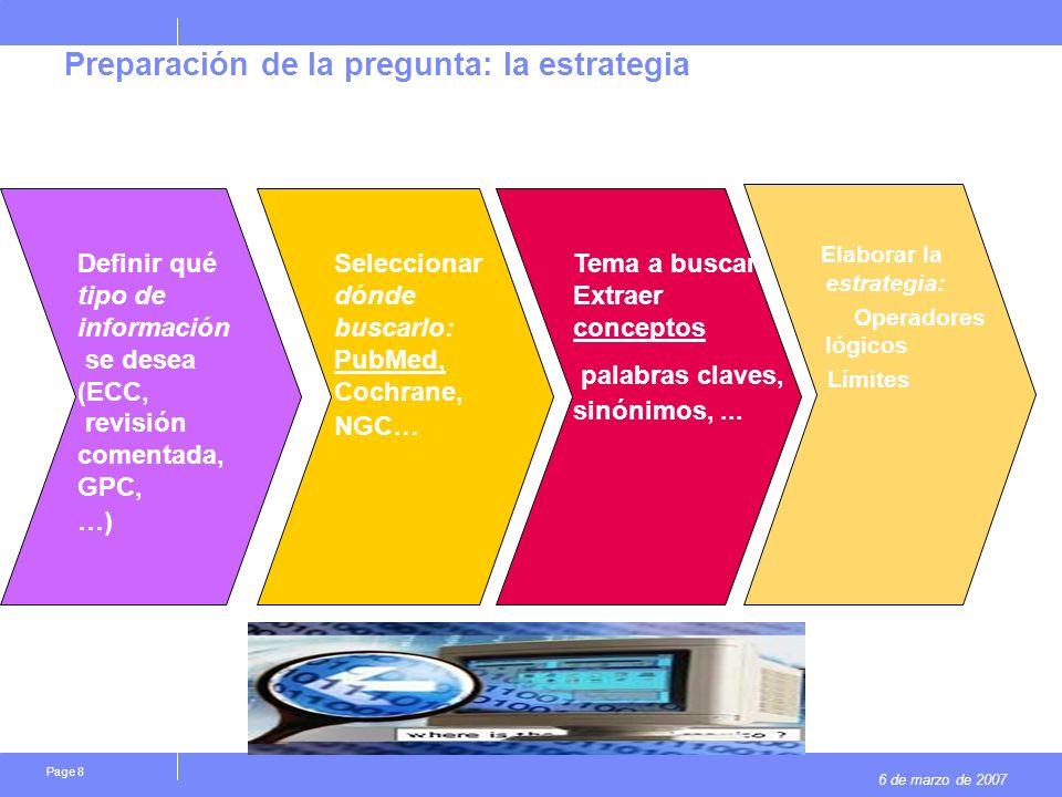 6 de marzo de 2007 Page 9 Preparación de la pregunta: la estrategia Término MESH- palabra clave Utilizo lenguaje libre o controlado La palabra tal cual
