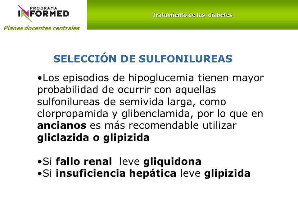 Planes docentes centrales Tratamiento de las diabetes SELECCIÓN DE SULFONILUREAS Los episodios de hipoglucemia tienen mayor probabilidad de ocurrir co