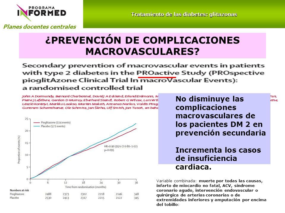 Planes docentes centrales Tratamiento de las diabetes: glitazonas ¿PREVENCIÓN DE COMPLICACIONES MACROVASCULARES? Variable combinada: muerte por todas