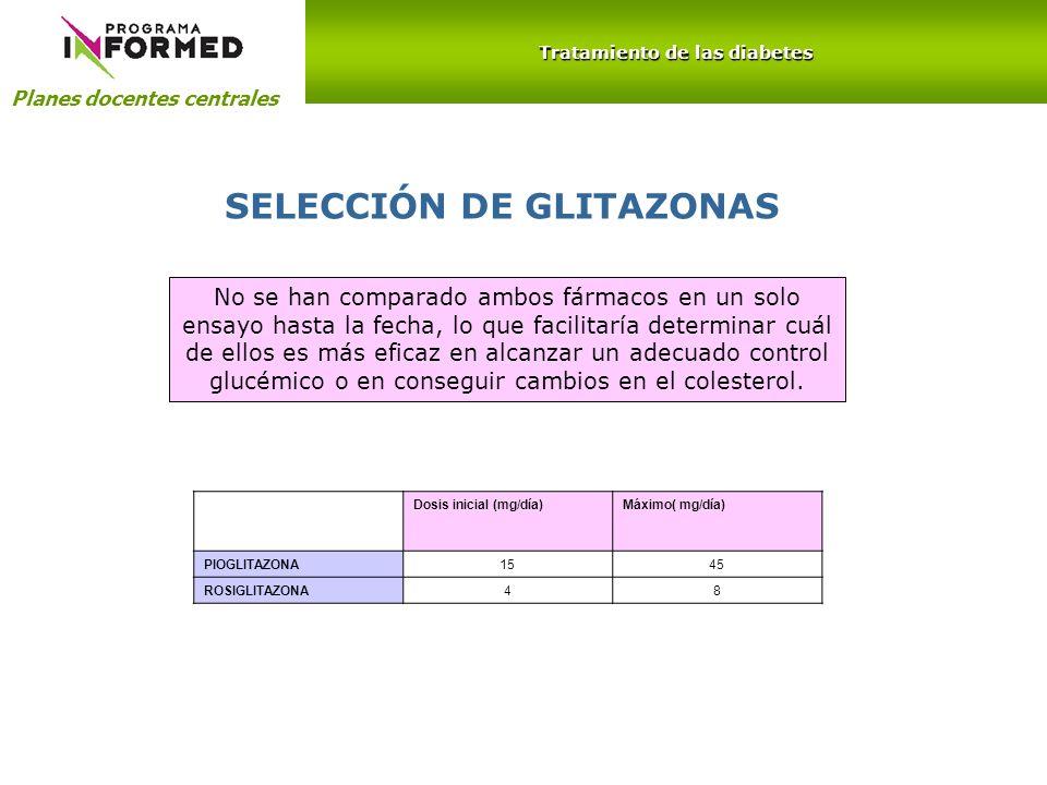 Planes docentes centrales Tratamiento de las diabetes SELECCIÓN DE GLITAZONAS No se han comparado ambos fármacos en un solo ensayo hasta la fecha, lo