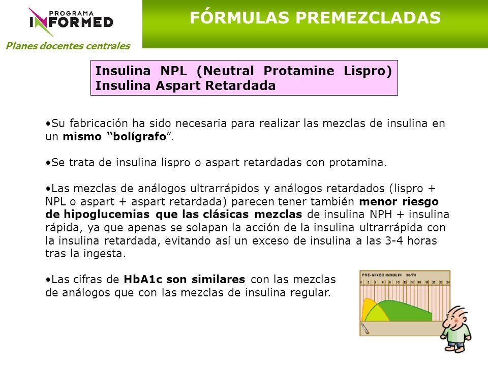 Planes docentes centrales FÓRMULAS PREMEZCLADAS Insulina NPL (Neutral Protamine Lispro) Insulina Aspart Retardada Su fabricación ha sido necesaria par
