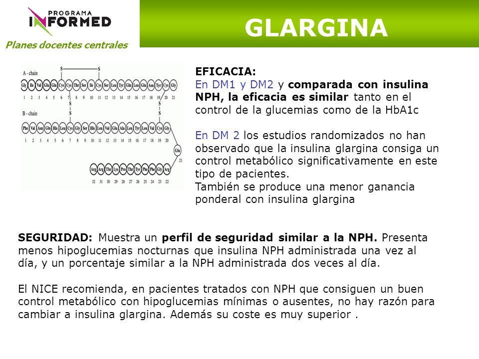 Planes docentes centrales SEGURIDAD: Muestra un perfil de seguridad similar a la NPH. Presenta menos hipoglucemias nocturnas que insulina NPH administ