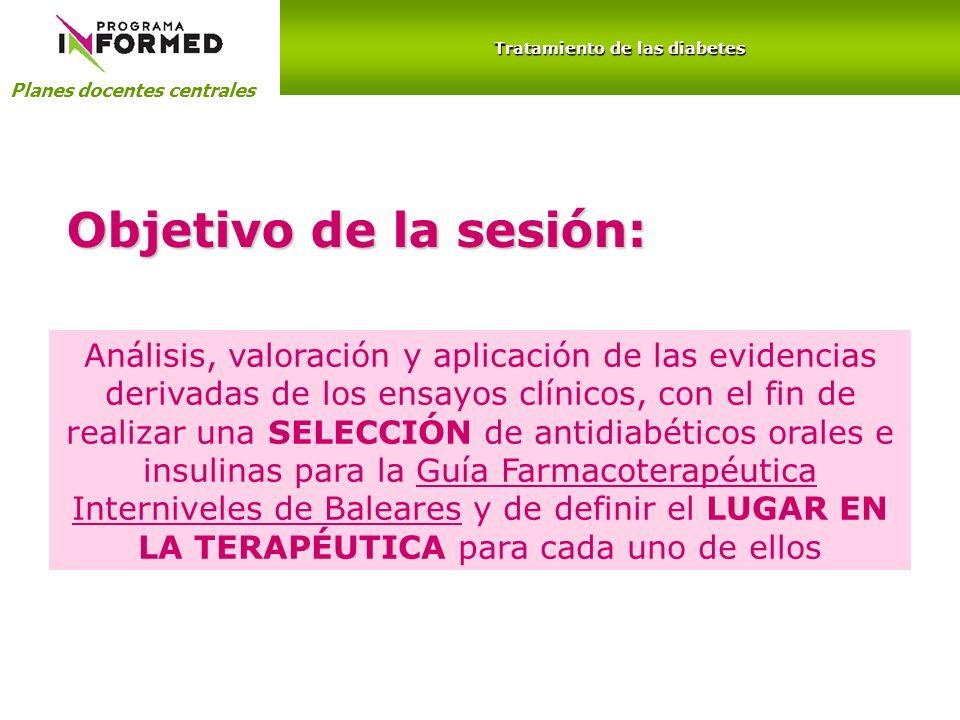 Planes docentes centrales Tratamiento de las diabetes INSULINAS Análogos de insulina de acción prolongada Análogos de insulina de acción rápida TipoInicio de acciónPico máximoDuración Rápidas10-30 min1-4 h5-6h NPH1-2 h4-8 h14-20h Glargina1-2 h-20-24h Detemir1-2 h6-8 h24h