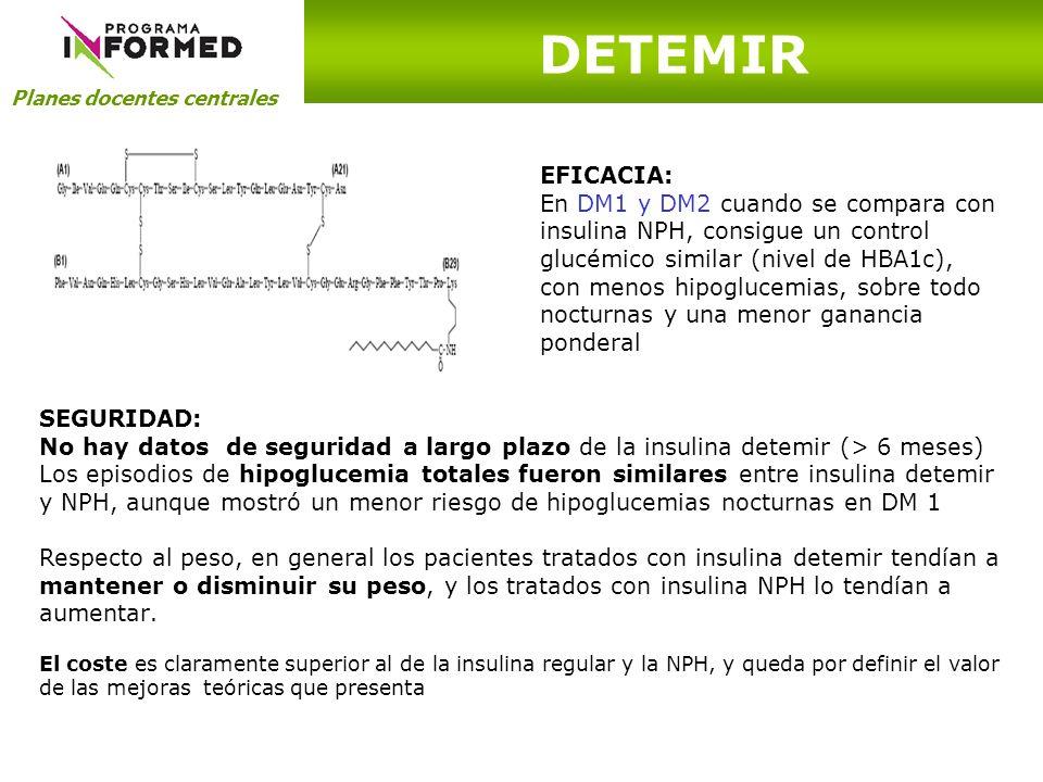 Planes docentes centrales DETEMIR EFICACIA: En DM1 y DM2 cuando se compara con insulina NPH, consigue un control glucémico similar (nivel de HBA1c), c
