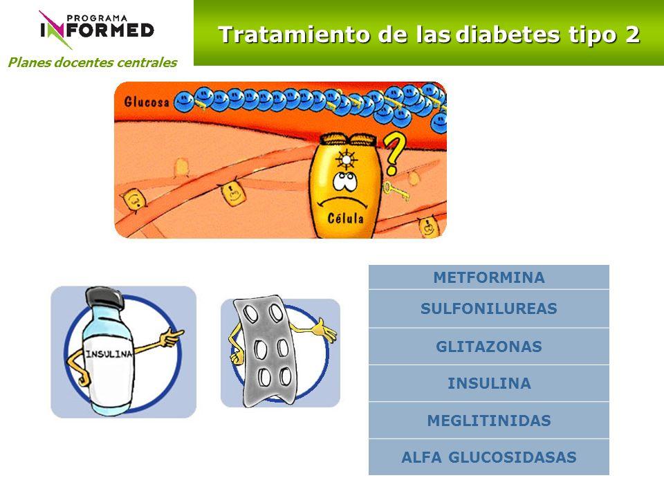 Planes docentes centrales Tratamiento de las diabetes tipo 2 CAMBIO DE ESTILO DE VIDA + METFORMINA SULFONILUREA GLITAZONA INSULINA BASAL + FO HbA 1c 7% GLITAZONA SULFONILUREA INSULINA BASAL Y PRANDIAL +METFORMINA +GLITAZONA???.