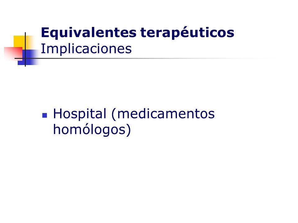 Equivalentes terapéuticos Implicaciones Hospital (medicamentos homólogos)