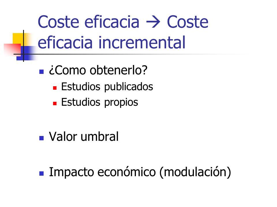 Coste eficacia Coste eficacia incremental ¿Como obtenerlo.