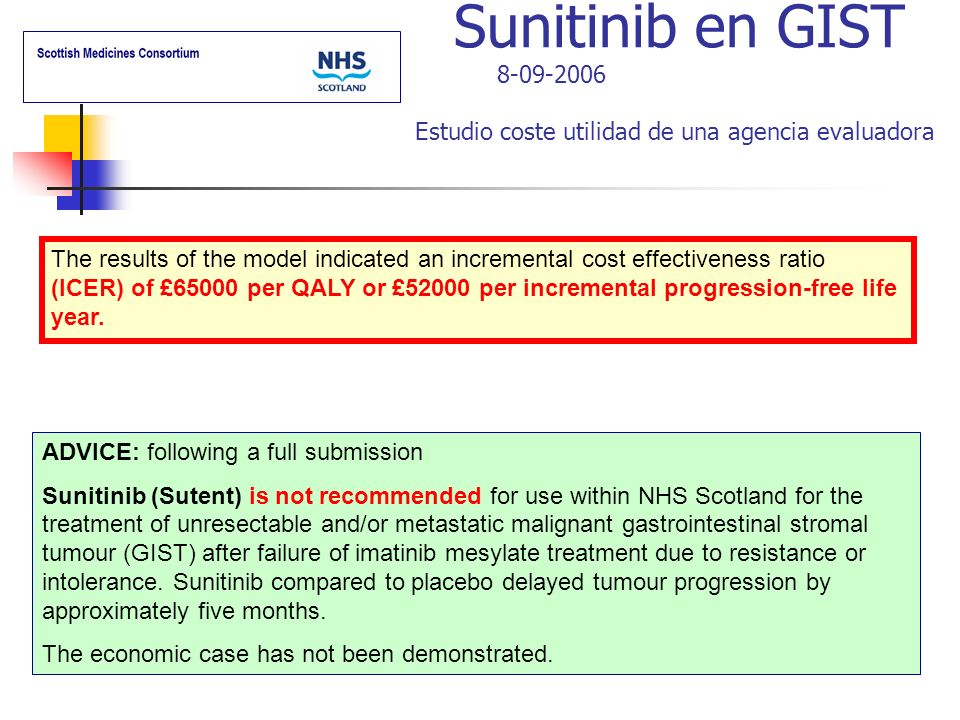 Sunitinib en GIST 8-09-2006 Estudio coste utilidad de una agencia evaluadora ADVICE: following a full submission Sunitinib (Sutent) is not recommended for use within NHS Scotland for the treatment of unresectable and/or metastatic malignant gastrointestinal stromal tumour (GIST) after failure of imatinib mesylate treatment due to resistance or intolerance.