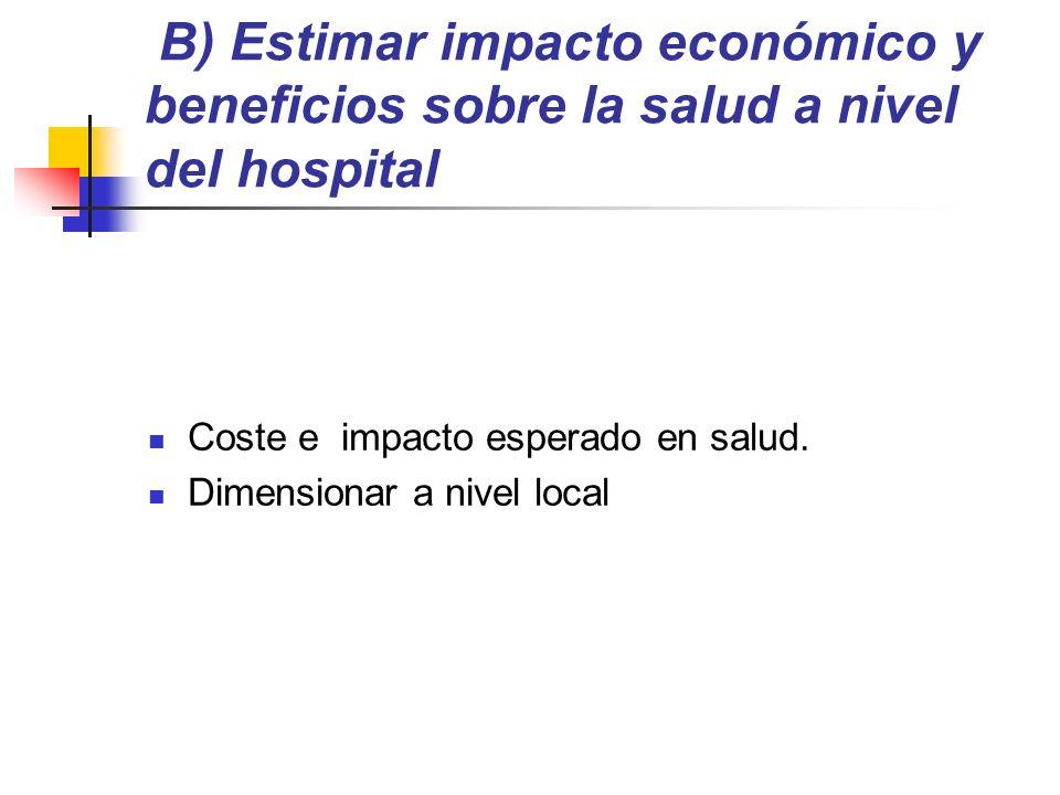 B) Estimar impacto económico y beneficios sobre la salud a nivel del hospital Coste e impacto esperado en salud.