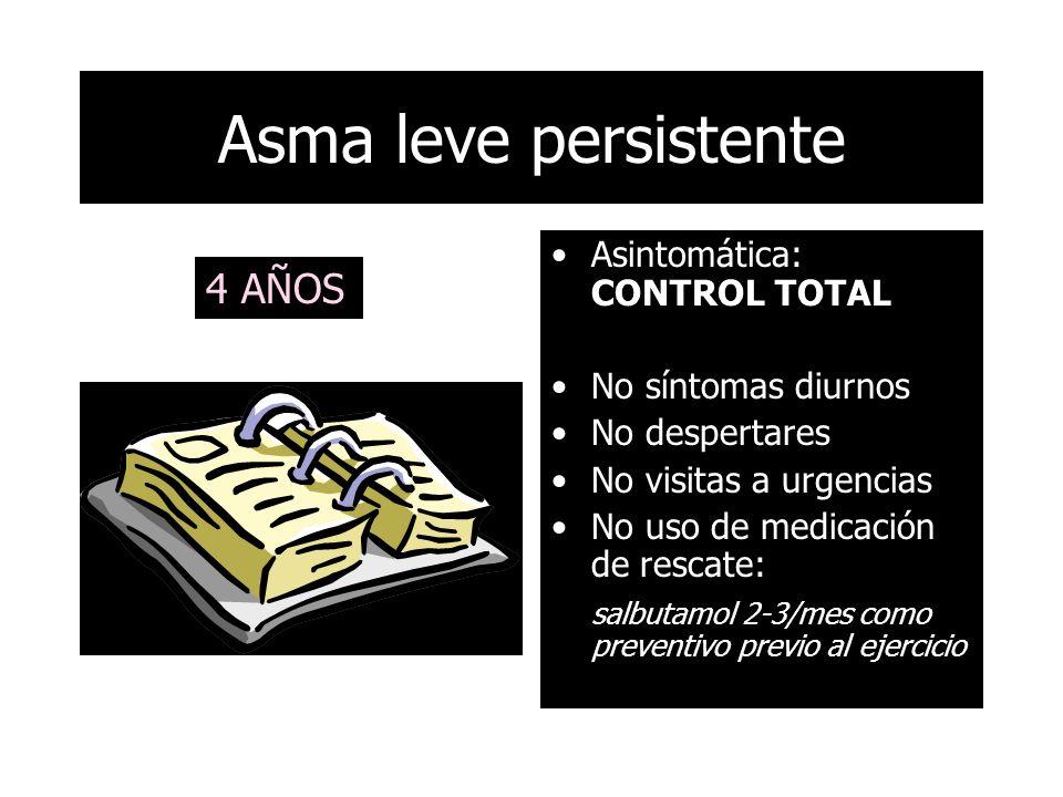 Asintomática: CONTROL TOTAL No síntomas diurnos No despertares No visitas a urgencias No uso de medicación de rescate: salbutamol 2-3/mes como preventivo previo al ejercicio Asma leve persistente 4 AÑOS