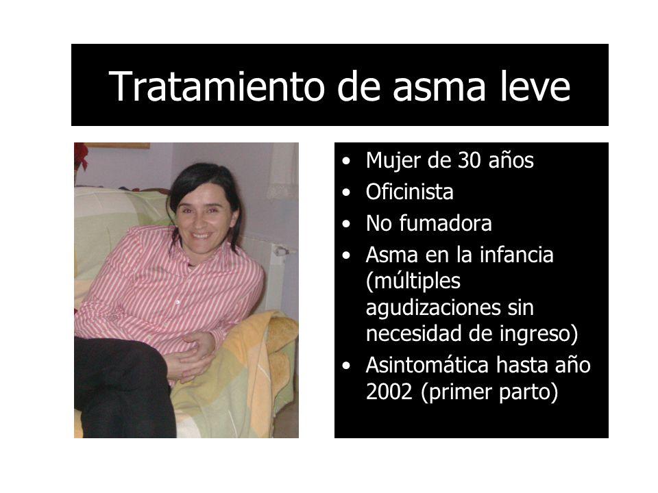 Tratamiento de asma leve Mujer de 30 años Oficinista No fumadora Asma en la infancia (múltiples agudizaciones sin necesidad de ingreso) Asintomática hasta año 2002 (primer parto)