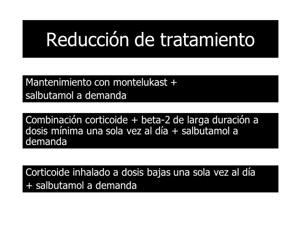 Reducción de tratamiento Mantenimiento con montelukast + salbutamol a demanda Combinación corticoide + beta-2 de larga duración a dosis mínima una sola vez al día + salbutamol a demanda Corticoide inhalado a dosis bajas una sola vez al día + salbutamol a demanda