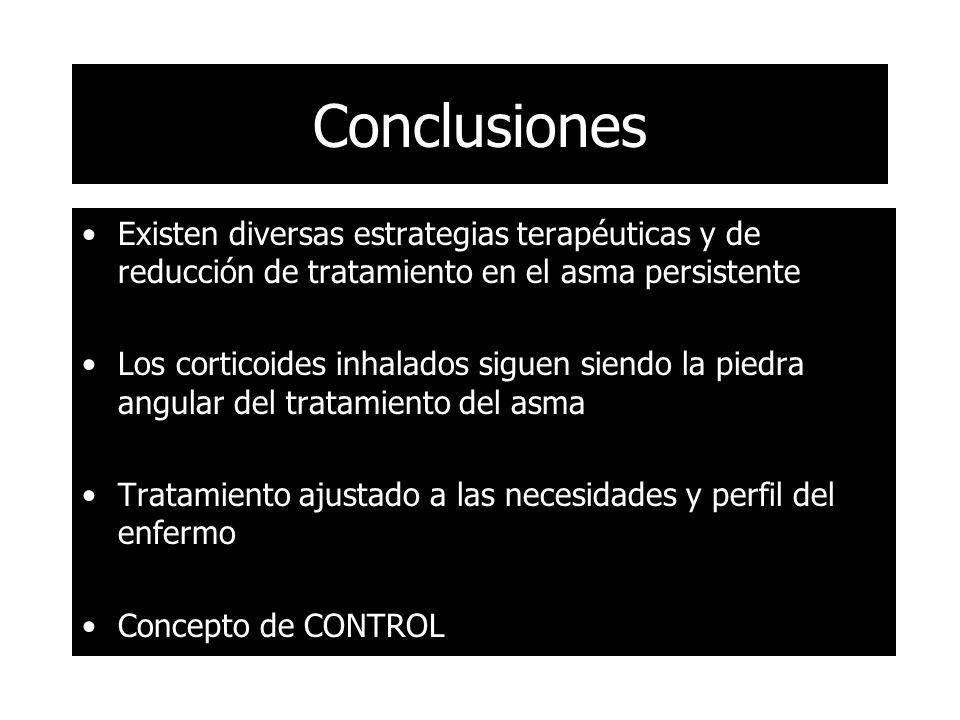 Conclusiones Existen diversas estrategias terapéuticas y de reducción de tratamiento en el asma persistente Los corticoides inhalados siguen siendo la piedra angular del tratamiento del asma Tratamiento ajustado a las necesidades y perfil del enfermo Concepto de CONTROL