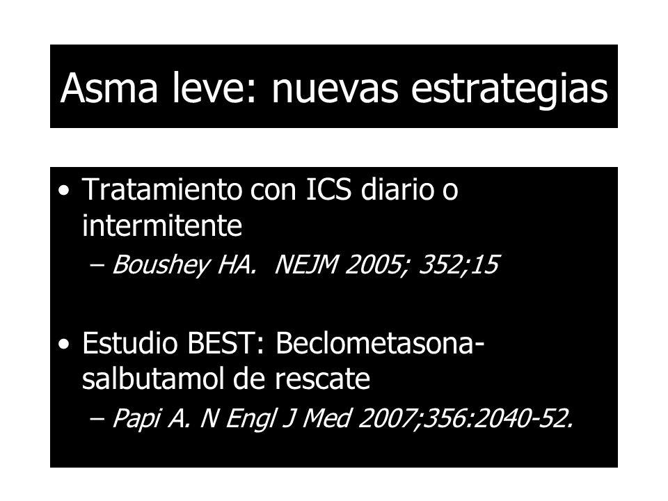 Asma leve: nuevas estrategias Tratamiento con ICS diario o intermitente –Boushey HA. NEJM 2005; 352;15 Estudio BEST: Beclometasona- salbutamol de resc