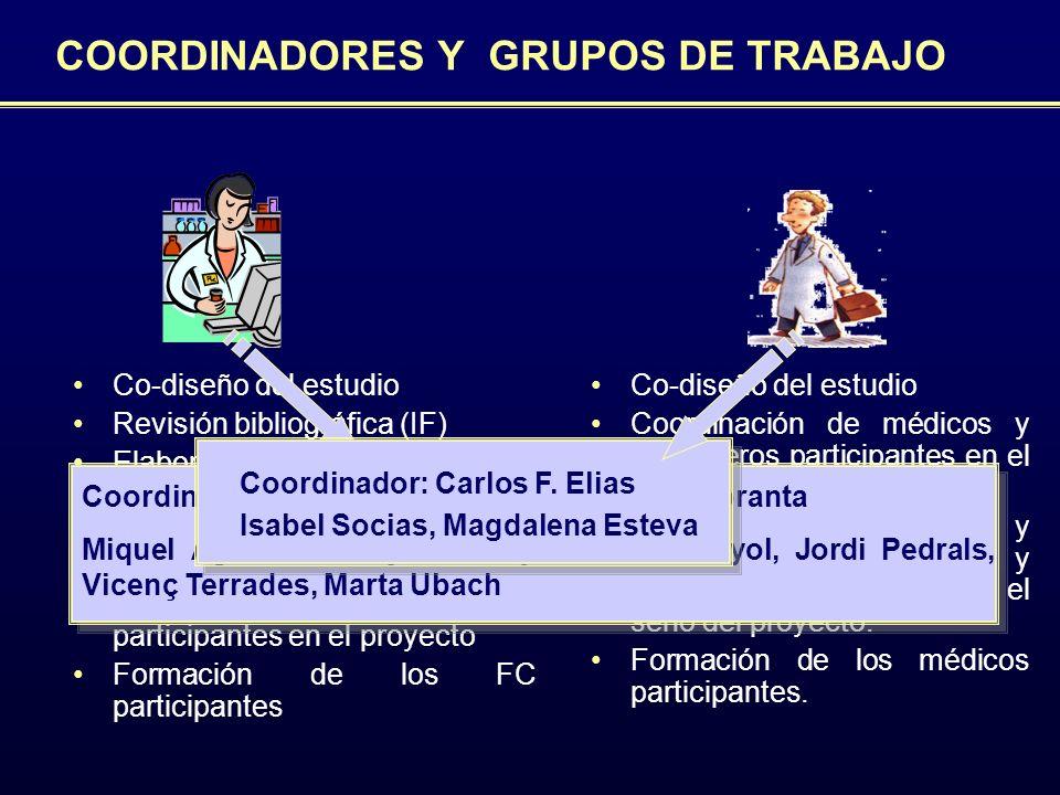 COORDINADORES Y GRUPOS DE TRABAJO Co-diseño del estudio Coordinación de médicos y enfermeros participantes en el proyecto Transmisión, recopilación, y