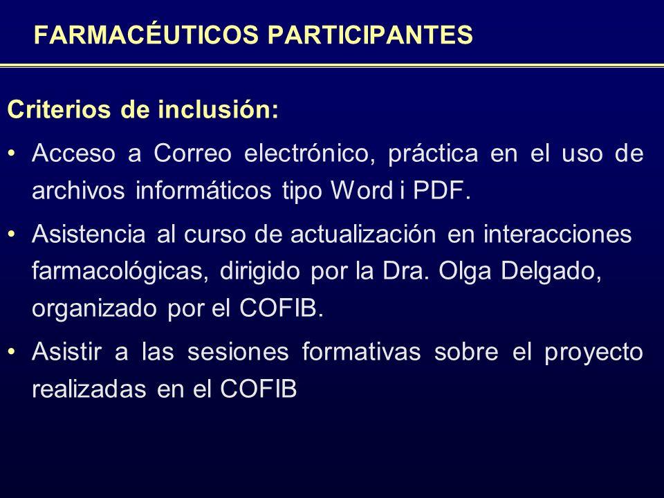 FARMACÉUTICOS PARTICIPANTES Criterios de inclusión: Acceso a Correo electrónico, práctica en el uso de archivos informáticos tipo Word i PDF. Asistenc