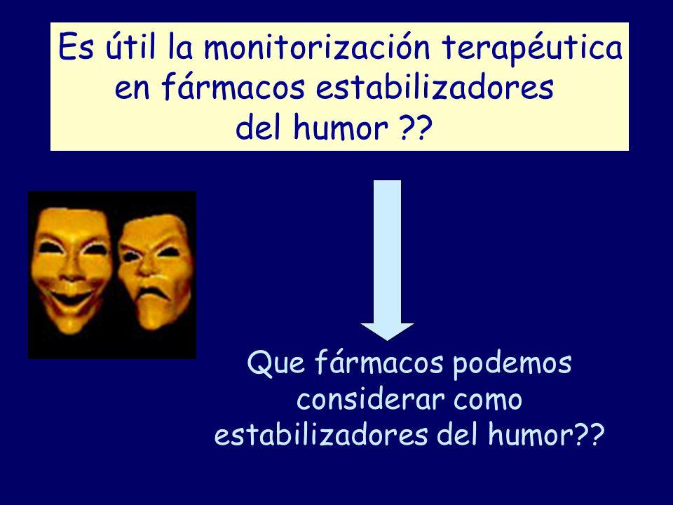 Es útil la monitorización terapéutica en fármacos estabilizadores del humor ?? Que fármacos podemos considerar como estabilizadores del humor??