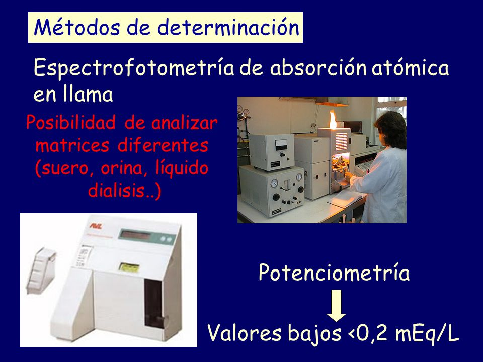 Métodos de determinación Potenciometría Espectrofotometría de absorción atómica en llama Valores bajos <0,2 mEq/L Posibilidad de analizar matrices dif