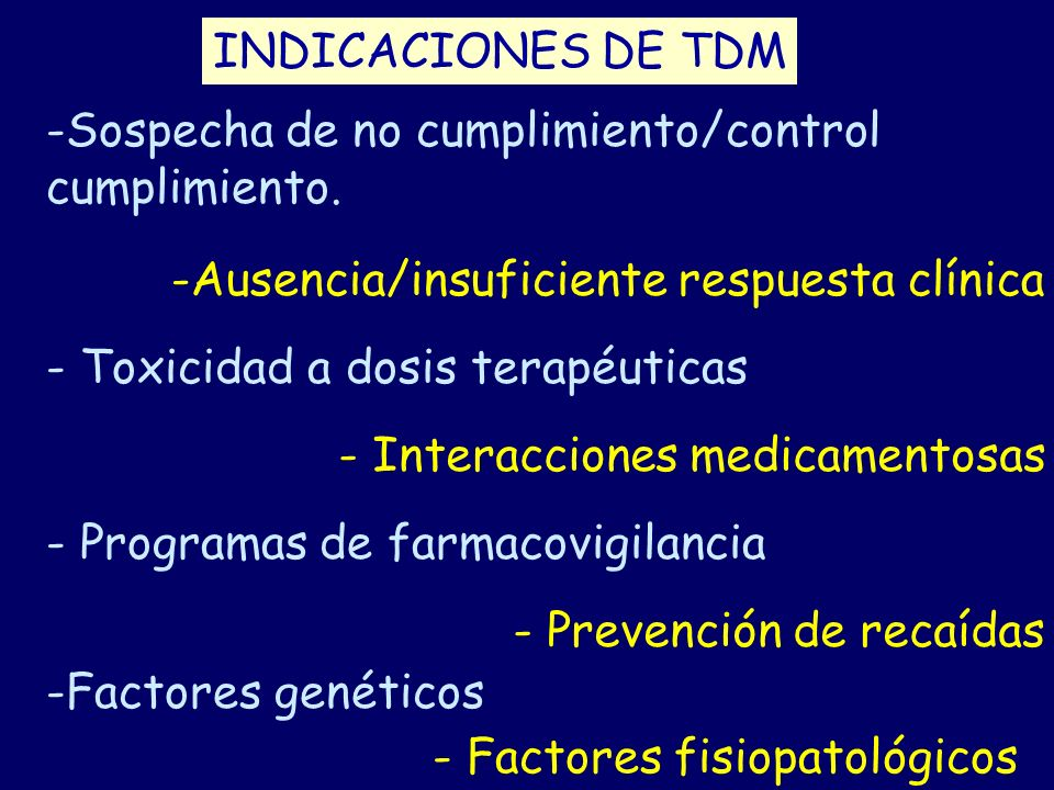 INDICACIONES DE TDM -Sospecha de no cumplimiento/control cumplimiento. -Ausencia/insuficiente respuesta clínica - Toxicidad a dosis terapéuticas - Int