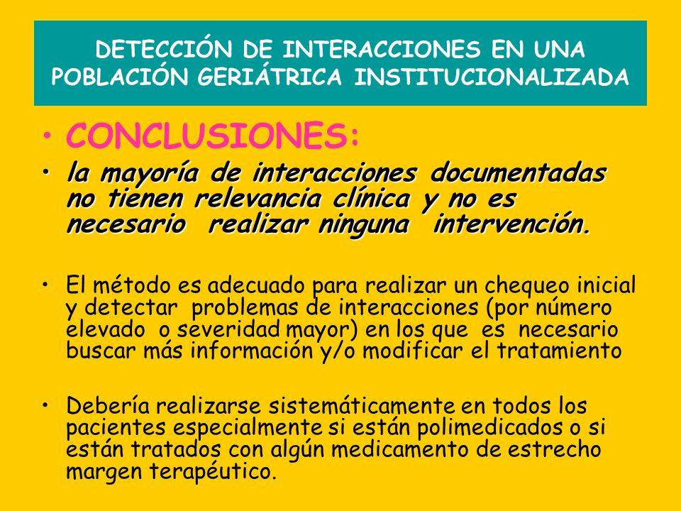 DETECCIÓN DE INTERACCIONES EN UNA POBLACIÓN GERIÁTRICA INSTITUCIONALIZADA CONCLUSIONES: la mayoría de interacciones documentadas no tienen relevancia