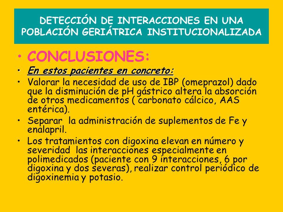 DETECCIÓN DE INTERACCIONES EN UNA POBLACIÓN GERIÁTRICA INSTITUCIONALIZADA CONCLUSIONES: En estos pacientes en concreto:En estos pacientes en concreto: