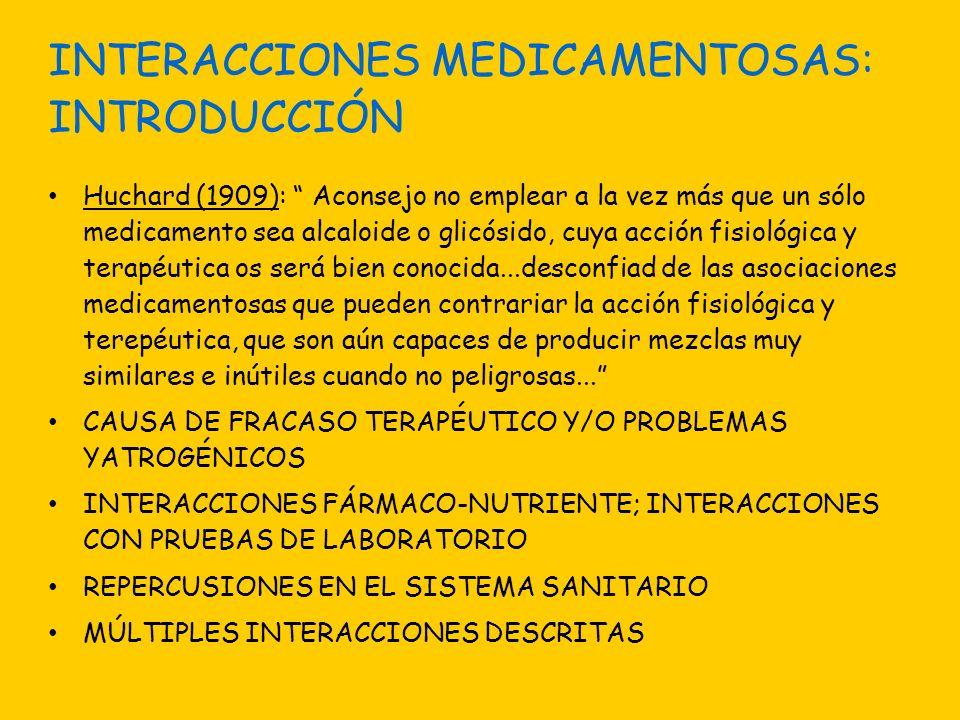 INTERACCIONES MEDICAMENTOSAS: INTRODUCCIÓN Huchard (1909): Aconsejo no emplear a la vez más que un sólo medicamento sea alcaloide o glicósido, cuya ac