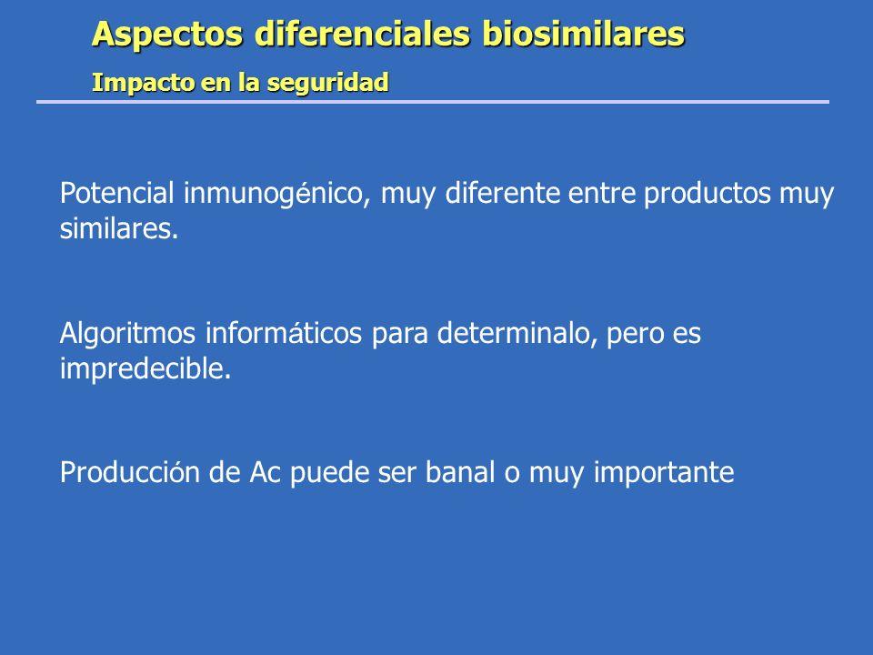 Aspectos diferenciales biosimilares Impacto en la seguridad Potencial inmunog é nico, muy diferente entre productos muy similares. Algoritmos inform á
