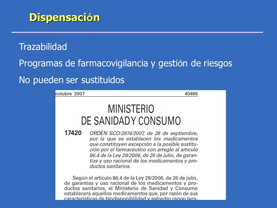 Trazabilidad Programas de farmacovigilancia y gesti ó n de riesgos No pueden ser sustituidos Dispensaci ó n
