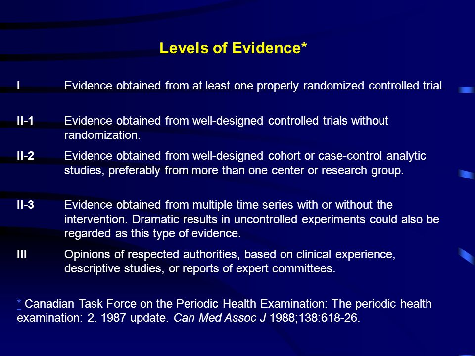 Levels of Evidence* I Evidence obtained from at least one properly randomized controlled trial.