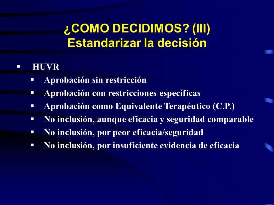 HUVR Aprobación sin restricción Aprobación con restricciones específicas Aprobación como Equivalente Terapéutico (C.P.) No inclusión, aunque eficacia y seguridad comparable No inclusión, por peor eficacia/seguridad No inclusión, por insuficiente evidencia de eficacia ¿COMO DECIDIMOS.