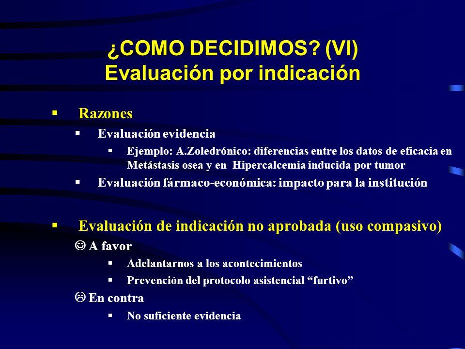¿COMO DECIDIMOS? (VI) Evaluación por indicación Razones Evaluación evidencia Ejemplo: A.Zoledrónico: diferencias entre los datos de eficacia en Metást