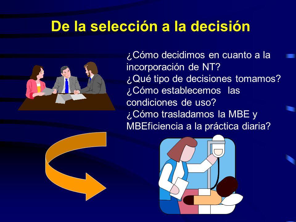 De la selección a la decisión ¿Cómo decidimos en cuanto a la incorporación de NT? ¿Qué tipo de decisiones tomamos? ¿Cómo establecemos las condiciones