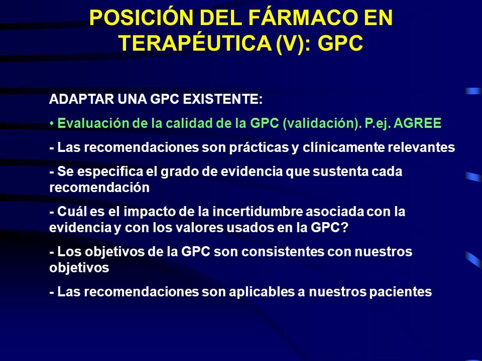 POSICIÓN DEL FÁRMACO EN TERAPÉUTICA (V): GPC ADAPTAR UNA GPC EXISTENTE: Evaluación de la calidad de la GPC (validación). P.ej. AGREE - Las recomendaci
