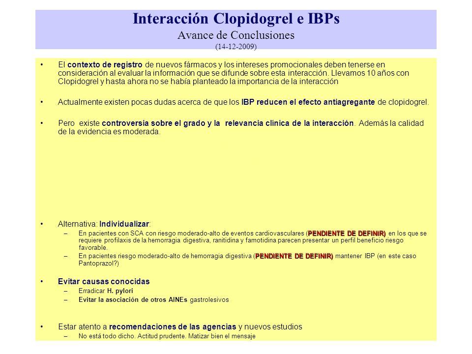 Interacción Clopidogrel e IBPs Avance de Conclusiones (14-12-2009) El contexto de registro de nuevos fármacos y los intereses promocionales deben tene