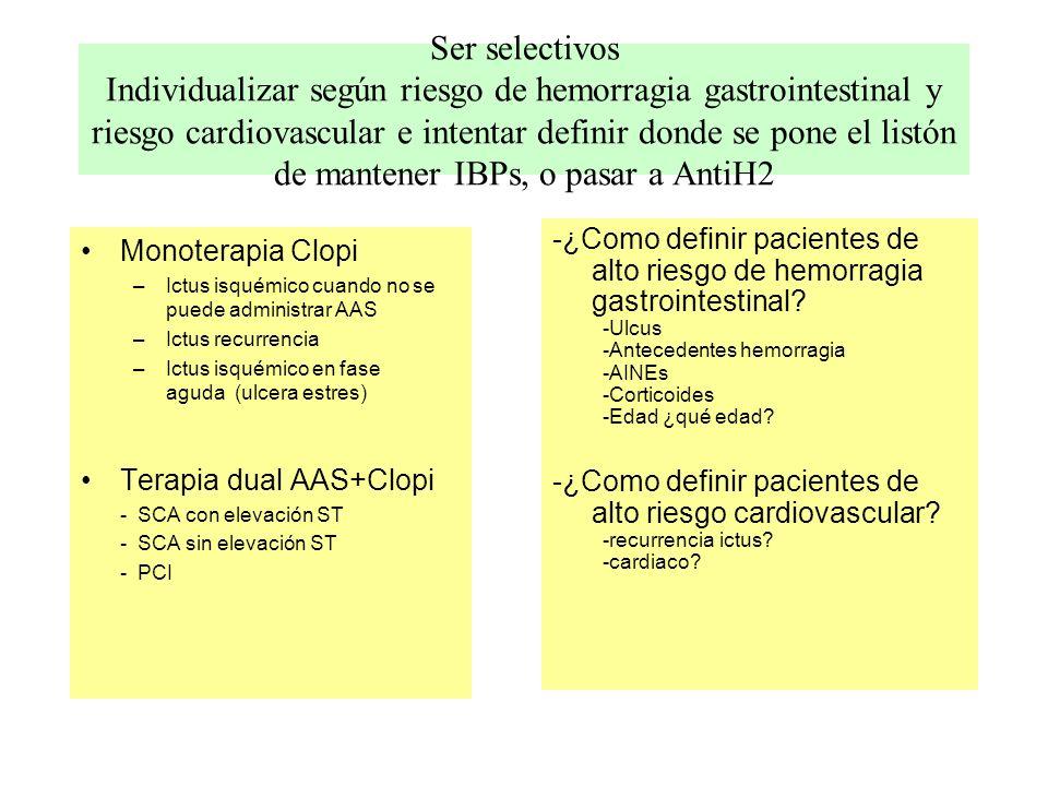 Ser selectivos Individualizar según riesgo de hemorragia gastrointestinal y riesgo cardiovascular e intentar definir donde se pone el listón de manten