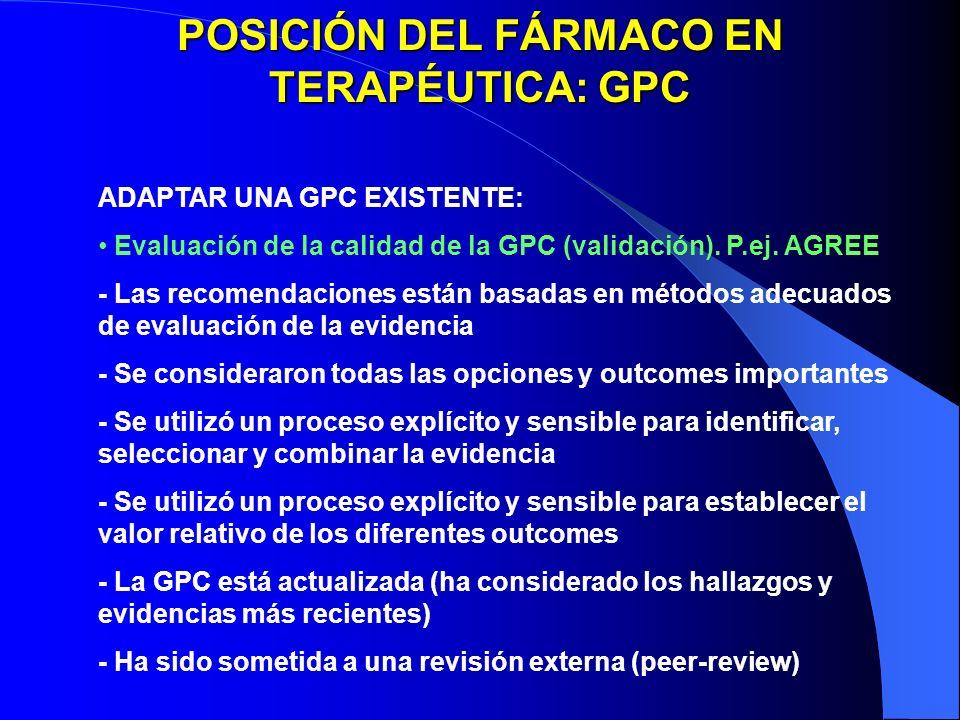 POSICIÓN DEL FÁRMACO EN TERAPÉUTICA: GPC ADAPTAR UNA GPC EXISTENTE: Evaluación de la calidad de la GPC (validación). P.ej. AGREE - Las recomendaciones