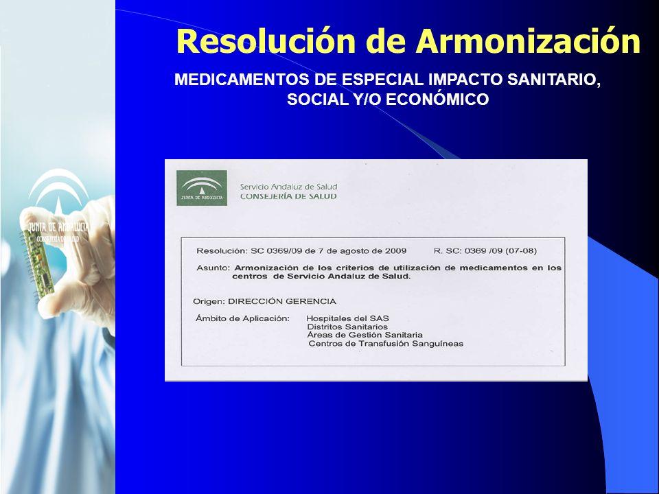 Resolución de Armonización MEDICAMENTOS DE ESPECIAL IMPACTO SANITARIO, SOCIAL Y/O ECONÓMICO