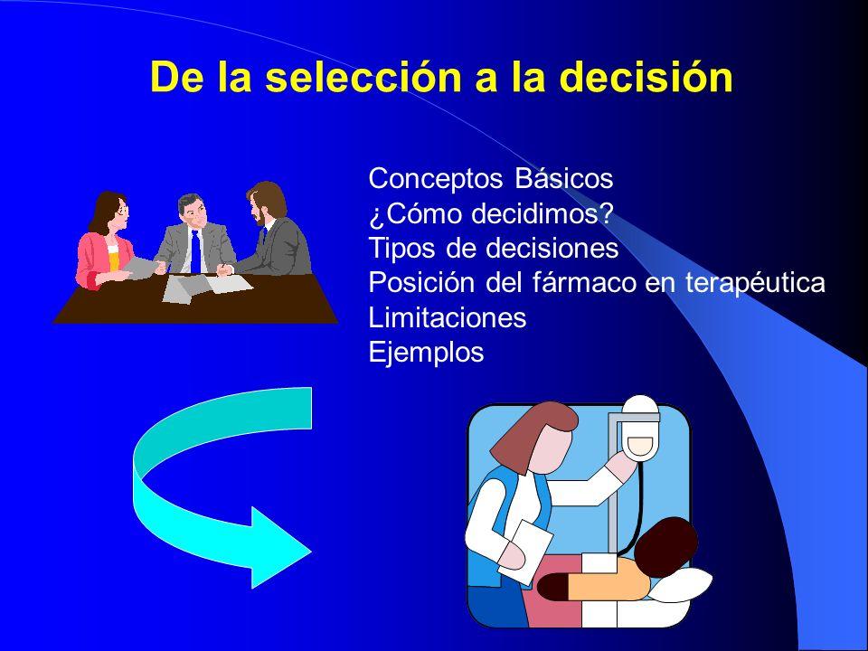 De la selección a la decisión Conceptos Básicos ¿Cómo decidimos? Tipos de decisiones Posición del fármaco en terapéutica Limitaciones Ejemplos