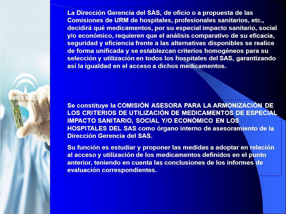La Dirección Gerencia del SAS, de oficio o a propuesta de las Comisiones de URM de hospitales, profesionales sanitarios, etc., decidirá qué medicament