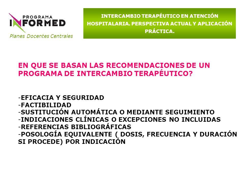 Planes Docentes Centrales INTERCAMBIO TERAPÉUTICO EN ATENCIÓN HOSPITALARIA. PERSPECTIVA ACTUAL Y APLICACIÓN PRÁCTICA. EN QUE SE BASAN LAS RECOMENDACIO